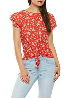 Floral Flutter Sleeve Tie Front Top - 1402069391004