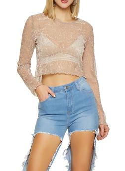 Shimmer Knit Lettuce Edge Crop Top - 1402069391331