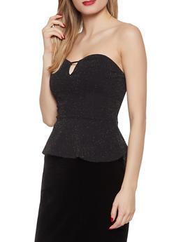 Shimmer Knit Peplum Top - 1402069391396