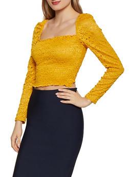 Smocked Crochet Square Neck Top - 1402069391468