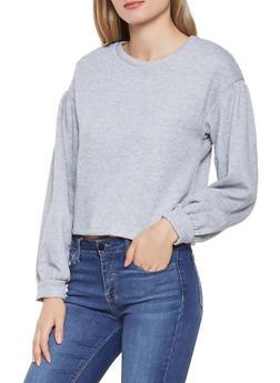 Cropped Bubble Sleeve Sweatshirt - 1402069391610