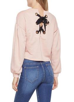 Lace Up Back Sweatshirt - 1402069391612