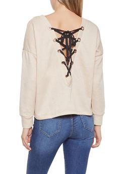 Lace Up Back Sweatshirt - 1402069391613