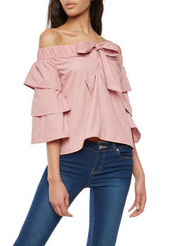 Bow Tie Off the Shoulder Top - 1402069391650
