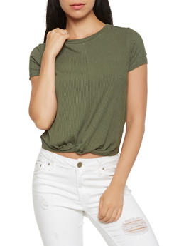 Twist Front Ribbed Knit Tee - 1402069391909