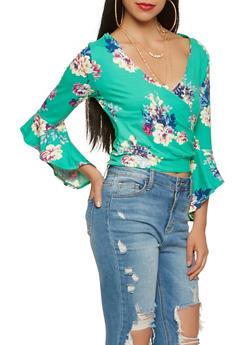 Floral Faux Wrap Top - 1402069392022