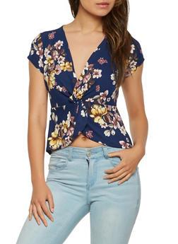 Split Twist Front Floral Top - 1402069392029