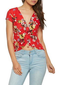 Split Twist Front Floral Top - 1402069392029