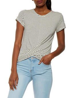 Striped Twist Front Tee - 1402069392076