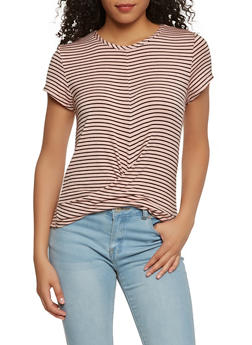 Striped Twist Front Tee - 1402069392076