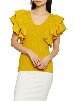 Ruffle Sleeve Rib Knit Top - 1402069392170