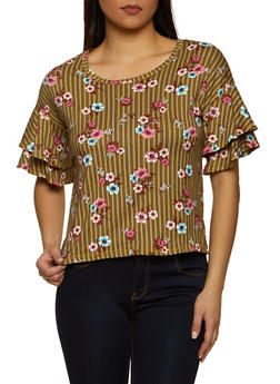 Tiered Sleeve Striped Floral Top - 1402069392397