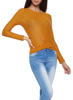 Diagonal Striped Twist Front Top - 1402069392443
