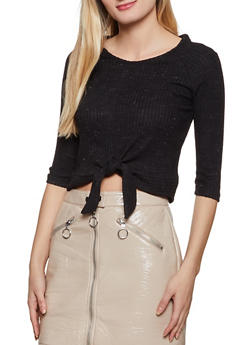 Brushed Knit Tie Front Top - 1402069392675