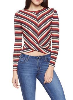 Striped Rib Knit Top - 1402069392713