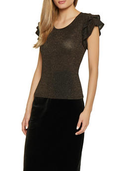Tiered Sleeve Shimmer Knit Top - 1402069392807