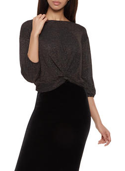 Tie Back Shimmer Knit Top - 1402069392836