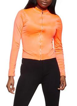 Zip Front Spandex Top - 1402069393890