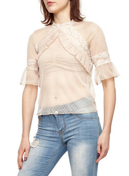 Ruffle Front Short Sleeve Lace Top - 1402069395121