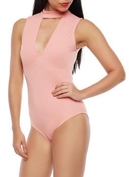 Choker Neck Plunge Bodysuit - 1402069395128
