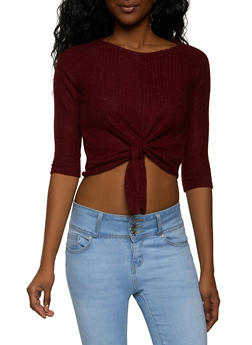 Ribbed Knit Tie Front Crop Top - 1402069395267