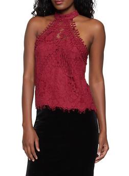 Crochet High Neck Top - 1402069395850