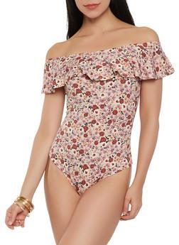 Soft Knit Floral Off the Shoulder Bodysuit - 1402069398519
