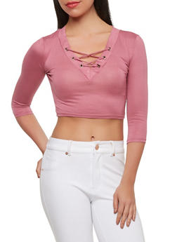 Lace Up Crop Top - 1402069398615
