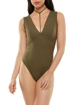 Choker Neck Thong Bodysuit - 1402069398653