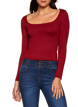 Square Neck Soft Knit Top - 1402069399042