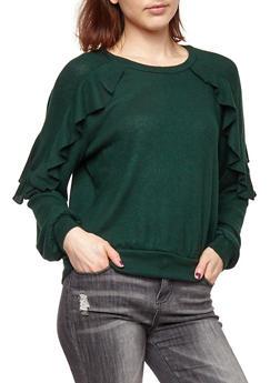 Ruffled Soft Knit Sweater - 1402069399334