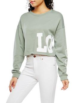 Love Graphic Cropped Sweatshirt - 1402069399351