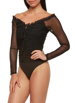 Ruched Mesh Thong Bodysuit - 1402069399548
