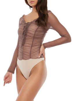 Ruched Mesh Thong Bodysuit - 1402069399548
