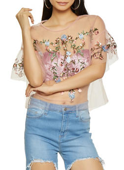 Floral Embroidered Tulle Top - 1402069399566