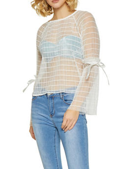 Pleated Mesh Bell Sleeve Top - 1402069399618