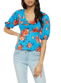 Floral Bubble Sleeve Top - 1402069399820