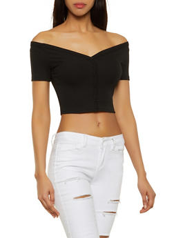Off the Shoulder Ribbed Button Detail Crop Top - 1402069399914