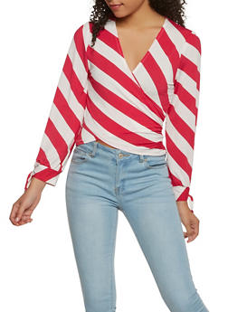 Striped Faux Wrap Top - 1402069399933
