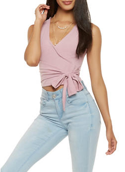 Tie Waist Faux Wrap Crop Top - 1402069399962