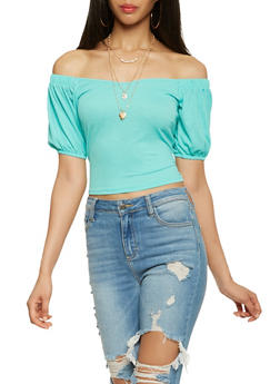 Off the Shoulder Bubble Sleeve Crop Top - 1402069399965