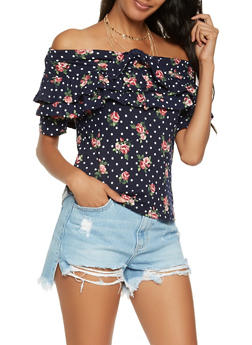 Tiered Ruffle Off the Shoulder Top - NAVY - 1402069399972