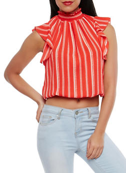 Striped Smocked Neck Blouse - 1402072241025
