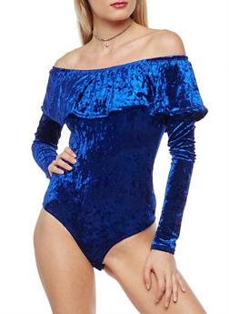 Crushed Velvet Off the Shoulder Bodysuit - 1402072246571