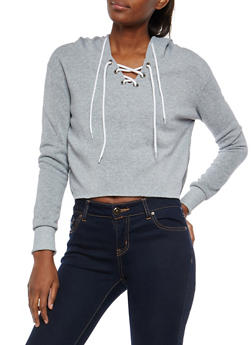 Raw Hem  Lace Up Hooded Sweatshirt - 1402072299663