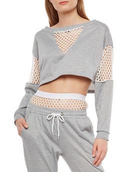 Fishnet Trim Cropped Sweatshirt - 1402072299937