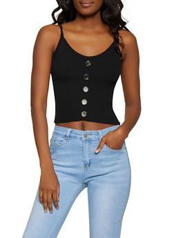 Faux Button Rib Knit Tank Top - 1403015991511
