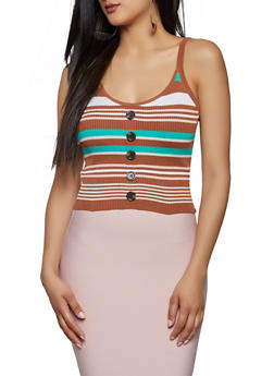 Faux Button Striped Rib Knit Tank Top - 1403015991512