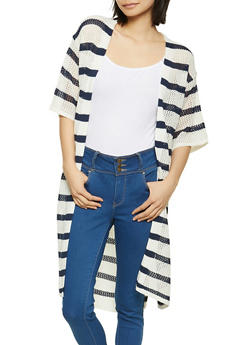 Striped Knit Duster - 1403015992462