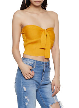 Rib Knit Tie Front Cropped Tube Top - 1403015993380